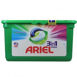Ariel detergente en cápsulas 3 en 1 - 38 u. Color.