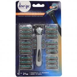Lov'yc maquinilla 1 u. + 21 recambios 3 hojas. Hombre (4 minibox de 10 u.).