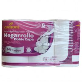 Consum papel higiénico 6 u. Megarrollo doble capa.