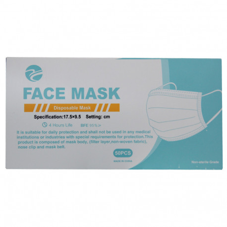 Mascarilla face mask 50 u. BFE 95% 40 packs.