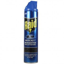 Raid insecticida spray 600 ml. Flies and mosquitoes natural fresh.