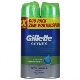 Gillette espuma de afeitar 2X200 ml. Aloe vera Series Sensible.