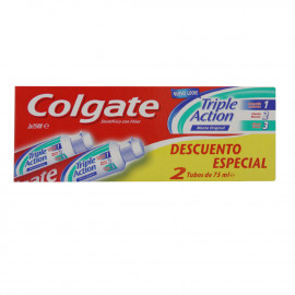 Colgate pasta de dientes 2 X 75 ml. Triple acción.