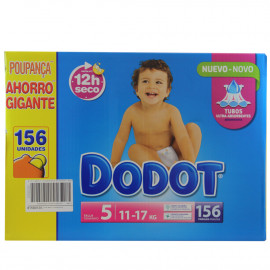 Dodot nappies 156 u. 11-17 kg. Giant 12 hours dry Size 5.