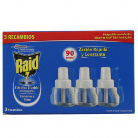 Raid anti mosquito electric refill 30 nights pack de 3 u.