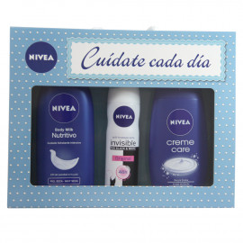 Nivea pack deodorant 150 ml. + Gel 250 ml. + Body milk 400 ml.