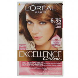 L'Oréal París hair color 6.35 Excellence Brilliant Amber.