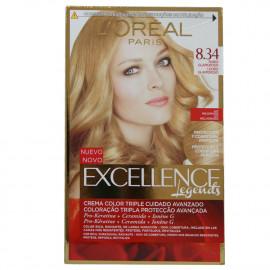 L'Oréal Excellence tinte 8.34 Rubio glamuroso.