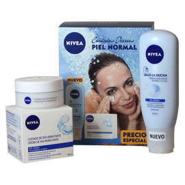 Nivea pack moisture day cream 50 ml. Normal skin + cleansing shower.