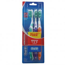 Oral B cepillo de dientes 3 u. 1 2 3 clean medium.