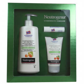 Neutrogena pack hand cream 75 ml + body milk 250 ml + lipstick 4,8 g. Nordic berries.