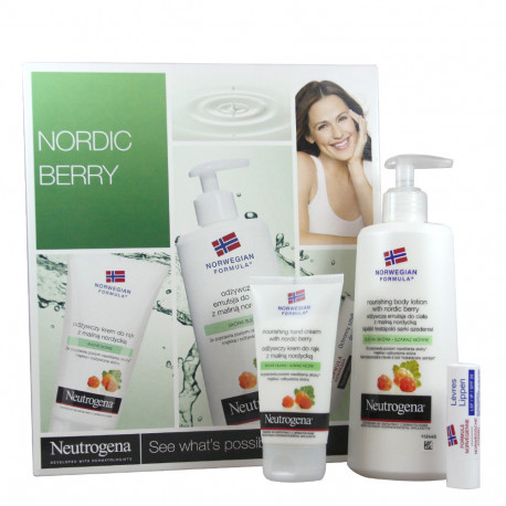 Neutrogena pack hand cream 75 ml + body milk 250 ml + lipstick 4,8 g. Aroma bayas nórdicas.