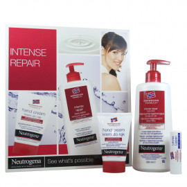 Neutrogena pack hand cream 75 ml + body milk 250 ml + lipstick 4,8 g. Intensive repair.