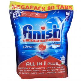 Finish lavavajillas powerball todo en uno 80 u.