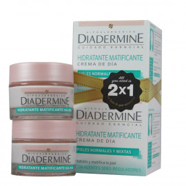 Diadermine crema de día 2x50 ml. Mattifying normal and mixed skin.