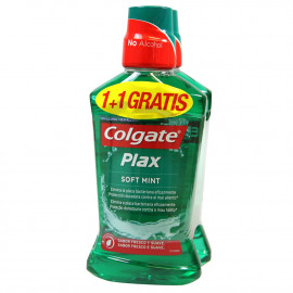 Colgate enjuague bucal 2X500 ml. Plax duplo.