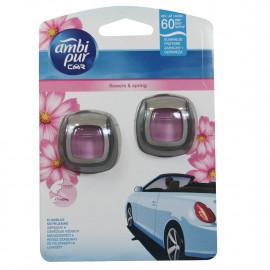 Ambipur ambientador coche clip 2X2 ml. Flores de primavera.