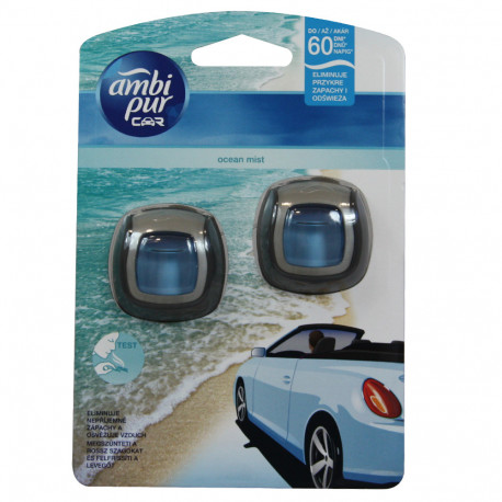 Ambipur ambientador coche clip 2X2 ml. Océano.