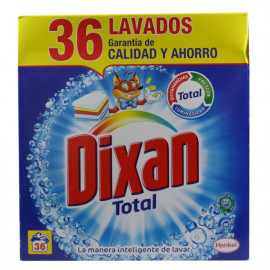 Dixan powder detergent 36 dose case.