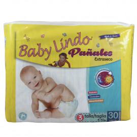 Baby lindo pañales 30 u. 4-10 kg. Extraseco talla 3.