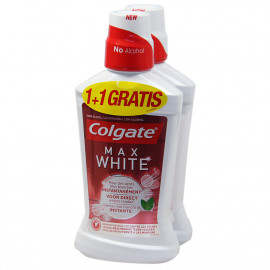 Colgate enjuague bucal 500 ml. Max White 2X1.