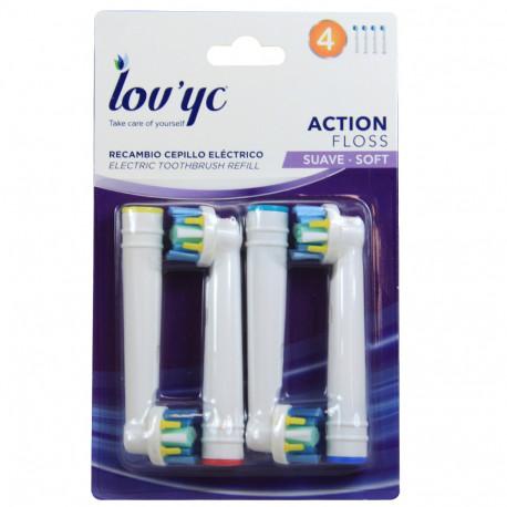 Lov'yc recambio cepillo eléctrico 4 u. Action Floss. 5 minibox de 20 u.