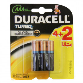 Duracell 4+2 u. Turbo alkaline  6 AAA 1.5 V LR03 MN2400.